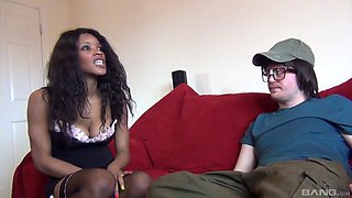 Stunning ebony maid with big tits gets fucked by a white dude