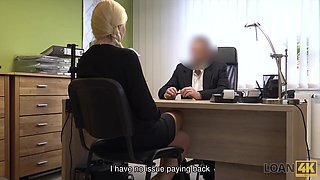 LOAN4K. New car costs money so blonde gets in hands of loan agent