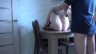 Girlfriend after rough sex gets creampied and she loves it