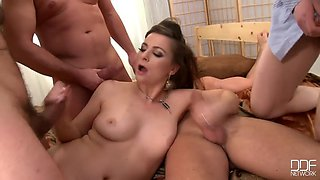 Bride takes on 4 cocks in a blowbang