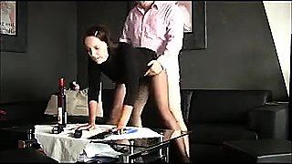 Tearing through MILF's pantyhose to fill her hungry pussy
