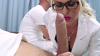 Busty head nurse Gigi Allens give best ever blowjob to horny patient Mick Blue