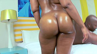 Angel is a nasty babe with an oiled up ass craving a cock ride