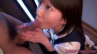 Asian schoolgirl cumswallows after blowjob