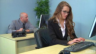 Office affair with a cock craving chick in black stockings