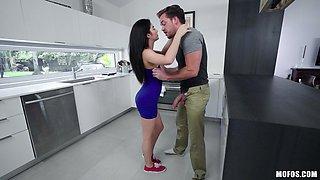 Petite brunette Jasmine teases a guy before being fucked hardcore