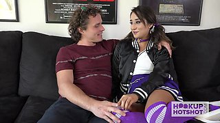 Crazy flexible cheerleader Isabella Nice is brutally anal pounded