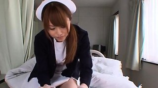 Japanese nurse deals patient's giant ramrod in manners