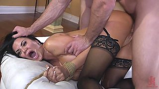 Curvaceous brunette Jasmine Jae is tied up and punished by one brutal guy