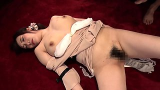 Sleeping Asian lady gets her hairy peach fingered and fucked