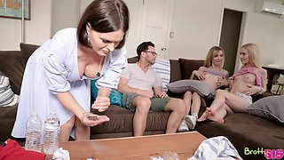 Two playful teens seduces stepbrother under mom's nose