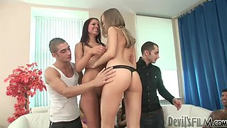Hot interracial orgy ends up with lots of creampies