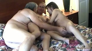 Elderly man enjoys having FFM threesome sex with two skanks