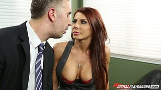 The boss finally gets to fuck the busty MILF he just hired