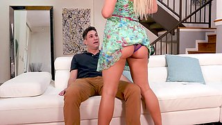 Mature blonde makes sure to spin her son's dick big time