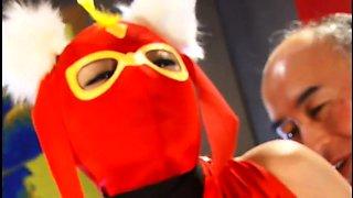 Masked Japanese slut with big hooters takes a hard fucking
