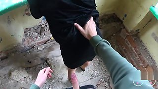 Deep anal with riping pantyhose in the abandoned house.Cum on butt