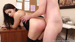 Lustful brunette bitch in stockings Valentina Nappi fucks Dane Cross