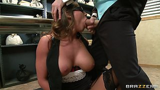 madison ivy in a sexy glasses sucking meaty pole
