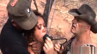 Hot African babe bonded in wilderness and abused by two guys
