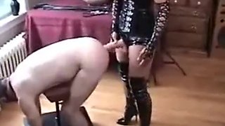 Wife paddles and pegs her slut