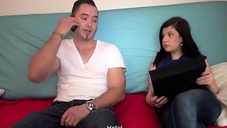 Pathetic cuckold watches his teen babe get fucked