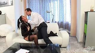 naughty boss bangs her gorgeous brunette secretary
