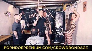Crowd bondage tiffany doll spanked in bdsm fuck