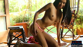 Filipina MILF with big tits and hairy box strips naked