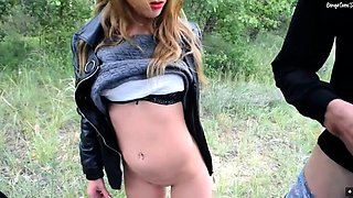 Sexy blonde girlfriend indulges in anal sex in the outdoors
