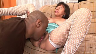 Two naughty girls moan while black guys drill their butts