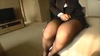 Office slut poses for her boss and lets him feel up the goo