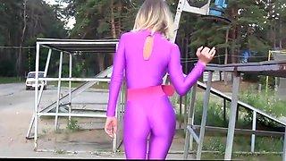 Katya in pink spandex