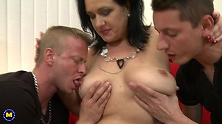 BBW Raisha E. versus two studs ready for some action