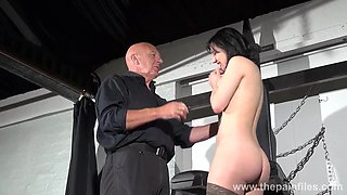 Horny old master introduces a hot babe to some light BDSM play