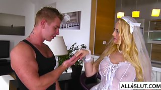 Blonde bride Angel enjoys sucking big cock in the box