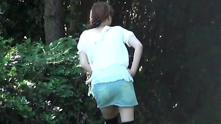 Asian in heels pissing