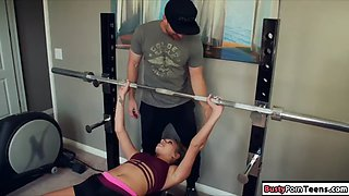 Cute babe fucked by her guy after her gym workout