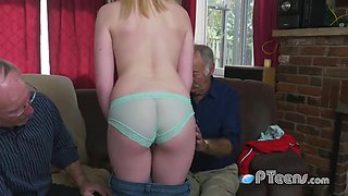 Exciting Blond Hair Babe Teenage Delights Grandpas