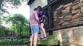 Outdoor sex behind a farmhouse - public fuck with bbw