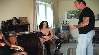 Two dominant women make a slave clean them with tongue