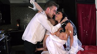 Sexy bride Romi Rain fucks a huge cock covered in wedding cake