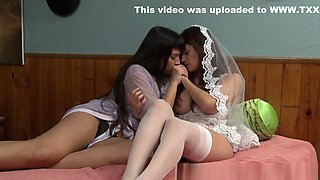 Busty Lesbian Bride Toyed