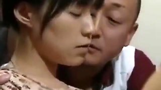 Three middle-aged uncles gangbang two cute school girl