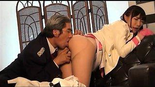 Dazzling Japanese babe in uniform gets her holes devoured
