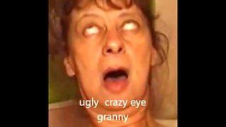 Crazy eye granny piss