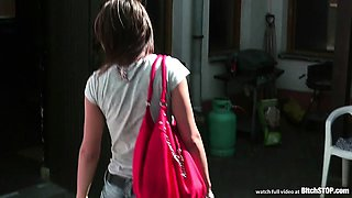 Bitch STOP - Skinny Verca fucked outdoor by pool