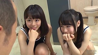 Japanese Asian Schoolgirls In Sexy Uniform Pissing On Male Student In Femdom Action