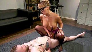Milf mistress fucks bound male slave