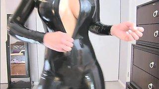 princess lyne - jerkoff latex zip